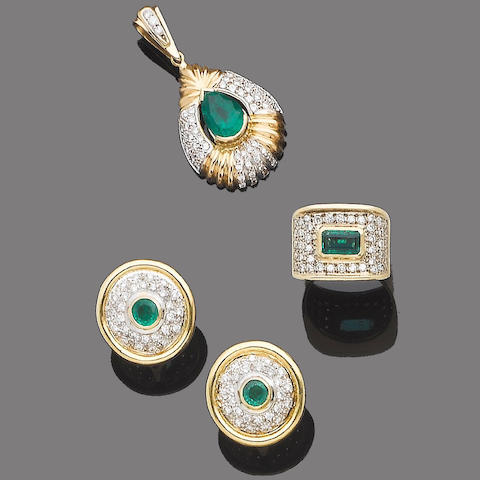 An emerald and diamond pendant, ring and earring suite (3)