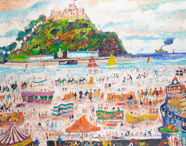Simeon Stafford (British, born 1956) St Ives with St Michael's Mount 120 x 150 cm. (47 1/4 x 59 in.)