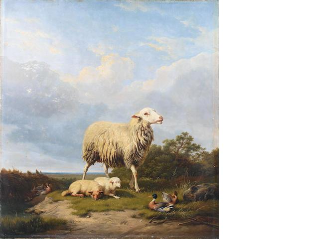 Eugène Verboeckhoven (Belgian, 1798-1881), Eugene Verboeckhven  Sheep in a lanscape, a pair (2)