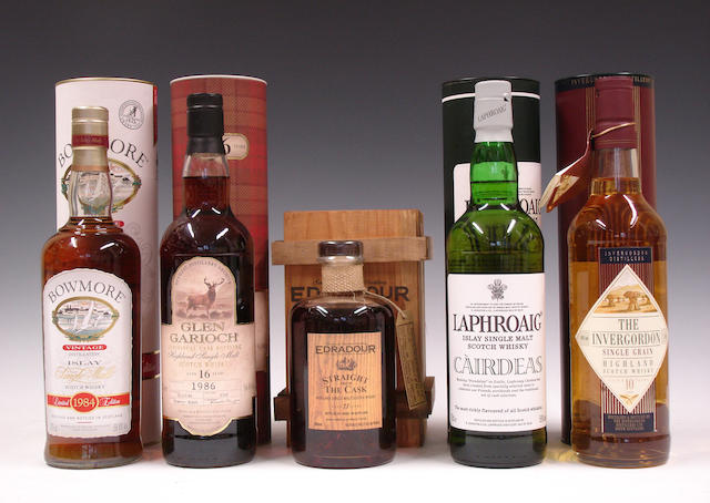 Bowmore Vintage-1984Glen Garioch-16 year old-1986Edradour-11 year old-1991Laphroaig CairdeasThe Invergordon-10 year old