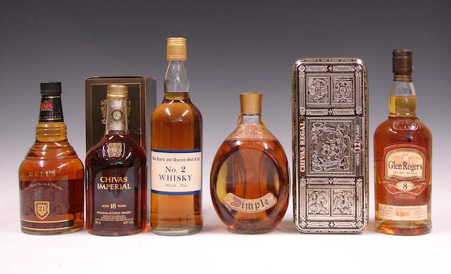 Bell's Royal Reserve-21 year oldChivas Imperial-18 year oldThe Royal and Ancient Golf ClubDimple-12 year oldChivas Regal-12 year oldGlen Roger's-8 year oldThe Strathconnon-12 year old
