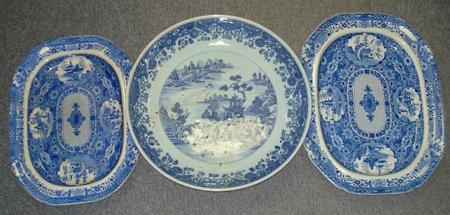 A late 19th Century Arita blue and white charger and two early 19th Century meat plates.(3)