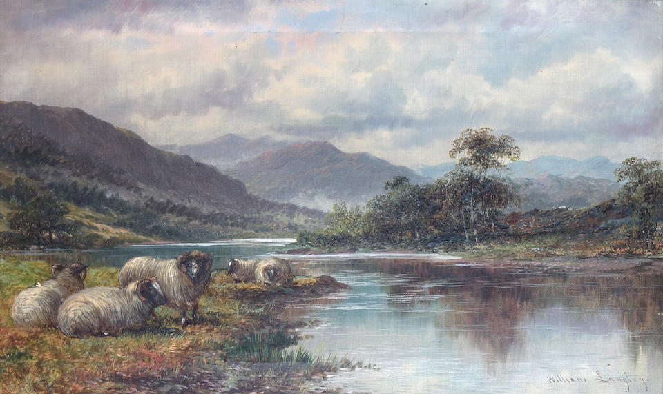William Langley (British, 1852-1922) Highland cattle watering at the riverside, together with another of sheep at the waters edge, a pair,