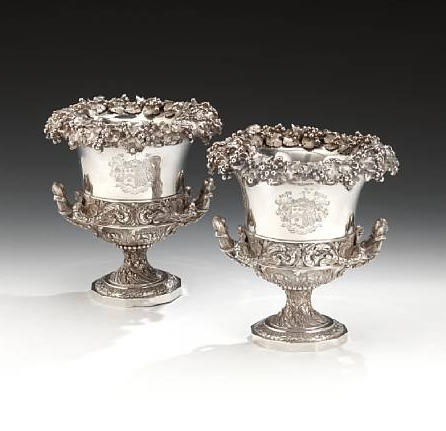 An impressive pair of George IV silver two-handled wine coolers, by William Eley (third mark), London 1827,  (2)