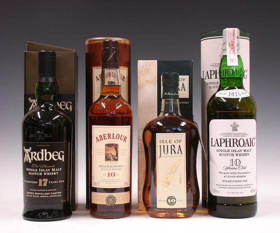 Ardbeg-17 year oldAberlour-10 year oldIsle of Jura-10 year oldLaphroaig-10 year old