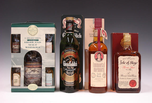 Longmorn-15 year old  Glenfiddich  Robert Burns Immortal Memory  Isle of Skye-18 year old