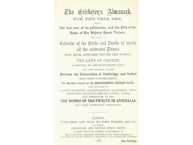 CRICKET WISDEN (JOHN) The Cricketer's Almanack for the Year 1865