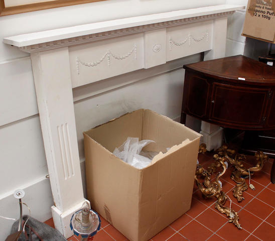 A painted pine fire place surround,
