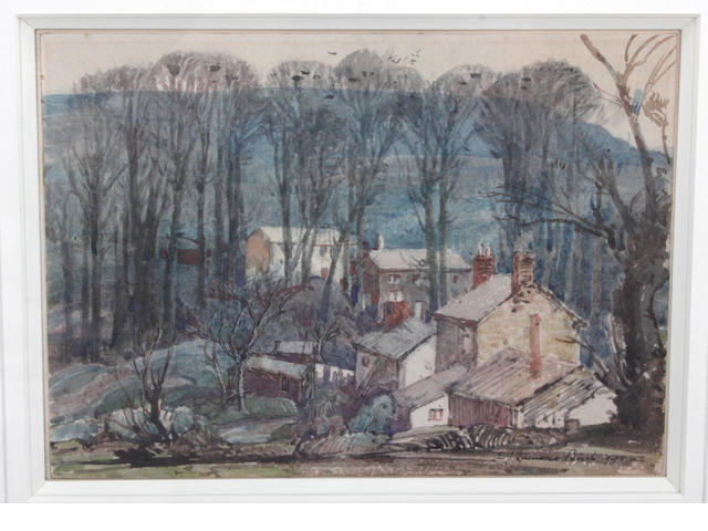 Samuel John Lamorna Birch, R.A., R.W.S., R.W.A. (British, 1869-1955) Cottages in the wood near Newlyn