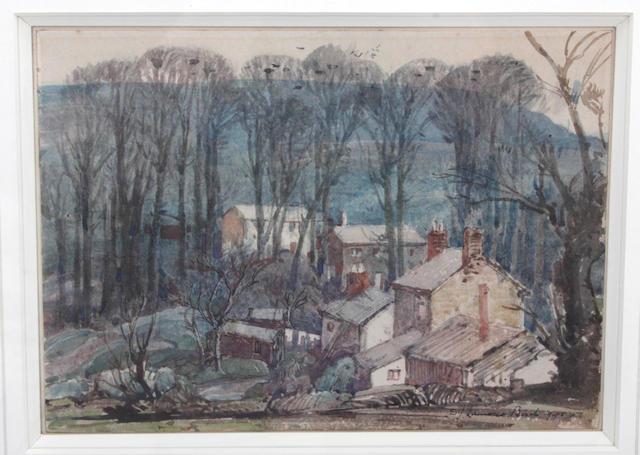 Samuel John Lamorna Birch, R.A., R.W.S., R.W.A. (British, 1869-1955) Cottages in the wood near Newlyn