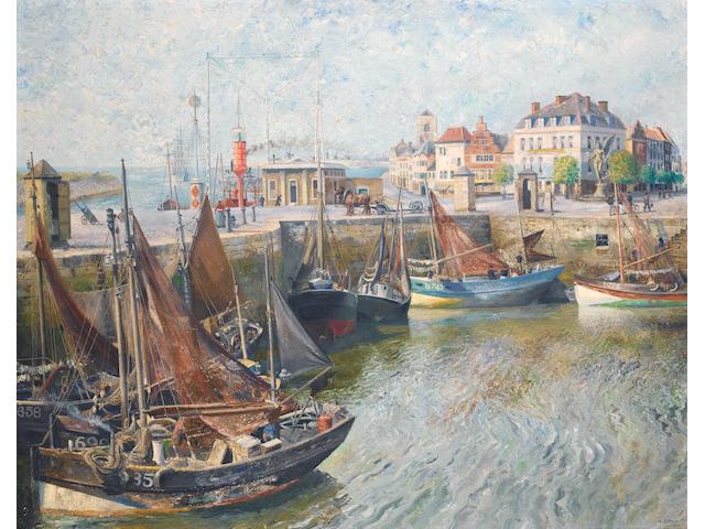 Richard Eurich A.R.A. (British, 1903-1992) Continental Port 101.5 x 127 cm. (40 x 50 in.)