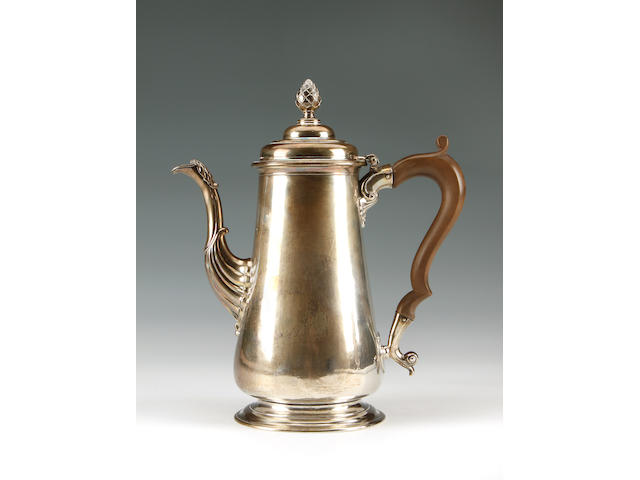 A George II baluster coffee pot, by Isaac Cookson, Newcastle 1746