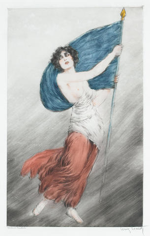 Louis Icart (French, 1888-1950) Marianne (La Marseillaise) Etching and drypoint, c1918, printed in colours, on japan, signed and inscribed 'Epreuve d'artiste' in pencil, 495 x 310mm (19 1/2 x 12 1/4in)(PL), together with a group of ten colour etchings by the same hand, entitled 'La Nuit et le Moment', 1946, from the set of 25, on wove, produced for the book of the same name, with an edition size of 525, plus artist's proofs, published by Claude Prosper de Crebillon, 195 x 140mm (7 3/4 x 5 1/2in)(PL) 11