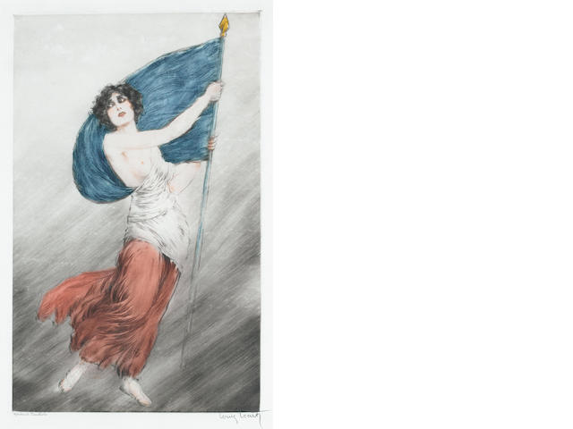 Louis Icart (French, 1888-1950) Marianne (La Marseillaise) Etching and drypoint, c1918, printed in colours, on japan, signed and insribed 'Epreuve d'artiste' in pencil, 495 x 310mm (19 1/2 x 12 1/4in)(PL)