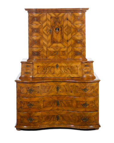 A South German mid 18th century walnut and olivewood bureau cabinet