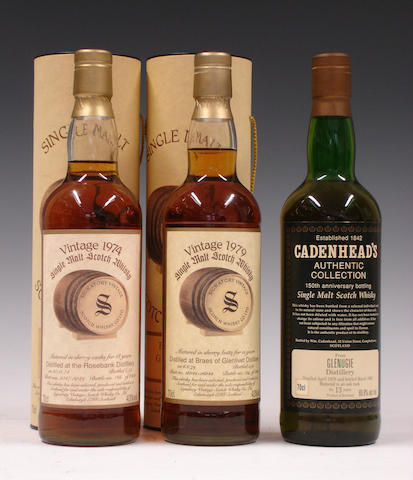 Rosebank-18 year old-1974  Braes of Glenlivet-15 year old-1979  Glenugie-13 year old-1978