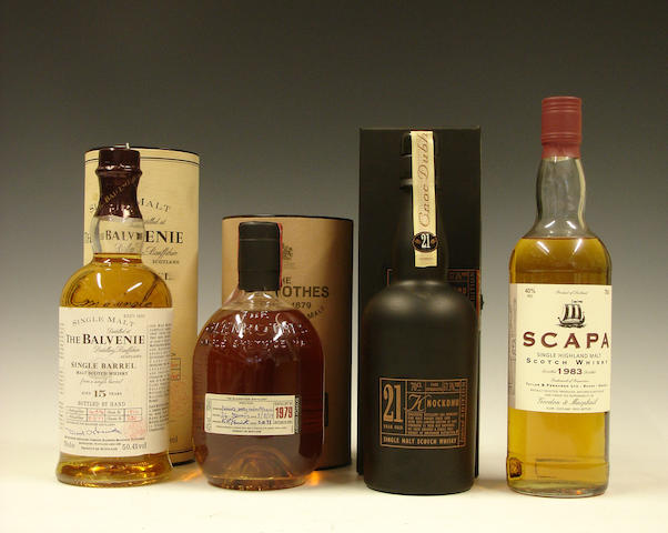 The Balvenie Single Barrel-15 year old-1977  The Glenrothes-1979  Knockdhu-21 year old  Scapa-1983