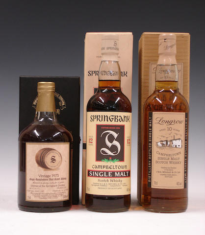Springbank-17 year old-1975  Springbank-12 year old  Longrow-10 year old