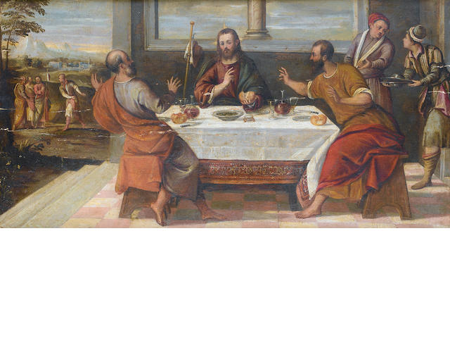 Attributed to Bonifazio de' Pitati, called Bonifazio Veronese (Verona circa 1487-1553 Venice) The Supper at Emmaus