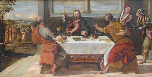 Attributed to Bonifazio de' Pitati, called Bonifazio Veronese (Verona circa 1487-1553 Venice) The Supper at Emmaus