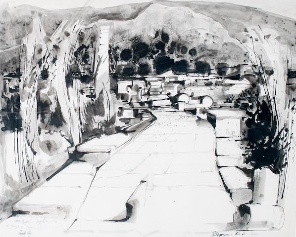 Michael Ayrton (British, 1921-1975) The Sacred Way, Temple of Hera 39.5 x 49.5 cm. (15 3/4 x 19 1/2 in.)