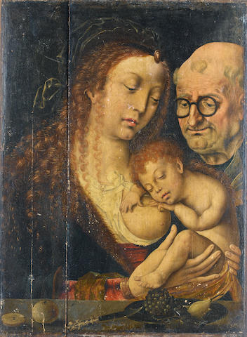 Circle of Joos van Cleve (probably Cleves circa 1485-circa 1540 Antwerp) The Holy Family unframed