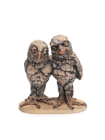 Group of a pair of Martinware lovebirds, detachable heads, see Sotheby's Belgravia 20/01/72 lots 93, 94