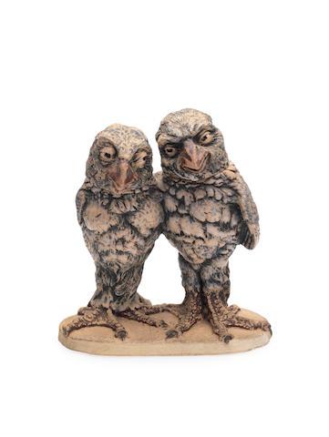 Martin Brothers A rare double stoneware Bird Group, 1914