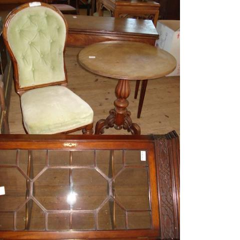 A George III style mahogany hanging corner display cabinet,