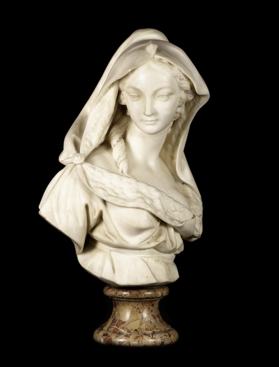 A fine pair of French late 18th century carved white marble busts of ladies, emblematic of Summer and Winter by Josse-François-Joseph Leriche (1738 - 1812), one dated 1778, the other dated 1780