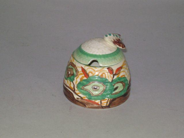Clarice Cliff - Cabbage Flower beehive honey pot and cover