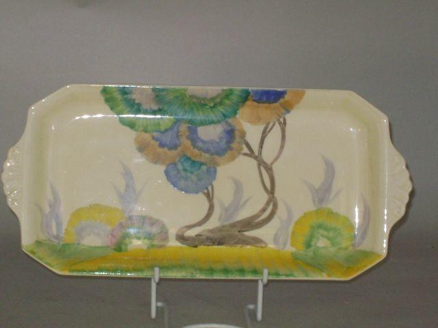 A Clarice Cliff 'Aurea' pattern stamford shape sandwich plate Circa 1934-36
