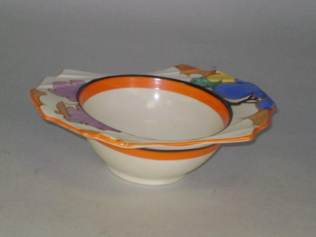 Clarice Cliff - Autumn Balloon trees scalloped edge bowl