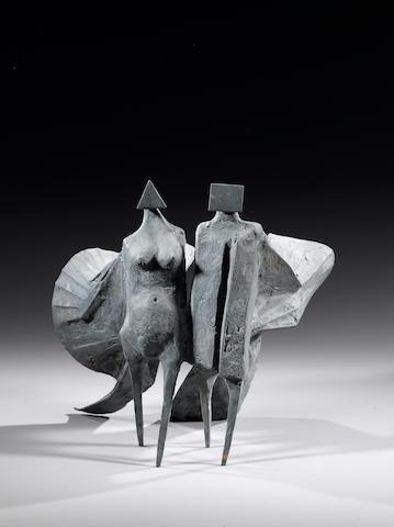 Lynn Chadwick, Cloaked Couple, bronze