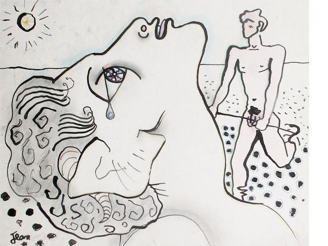Jean Cocteau (French, 1892-1963) Tête d' Homme - Faune et Jeune Homme