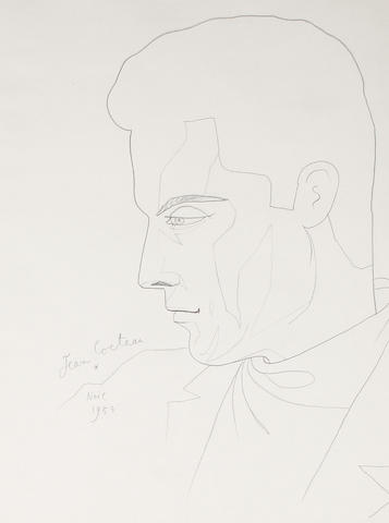 Jean Cocteau (French, 1892-1963) Portrait of Gilbert Becaud