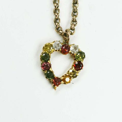 A multi gem set heart pendant,