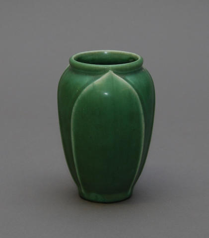 A Rookwood pottery green glazed vase