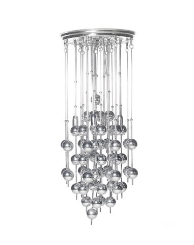An Italian chandelier, circa 1970 formed from a series of chromed metal balls suspended from steel rods