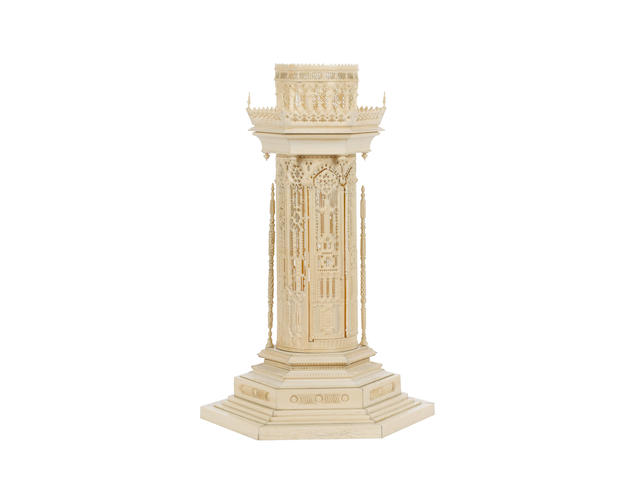 An impressive European second half of the 19th century carved ivory architectural model of a tower