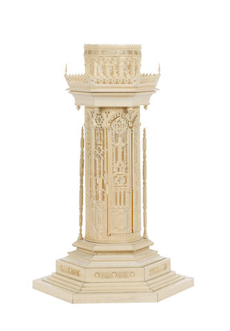 An impressive European mid-19th century Gothic style carved ivory architectural model of a tower