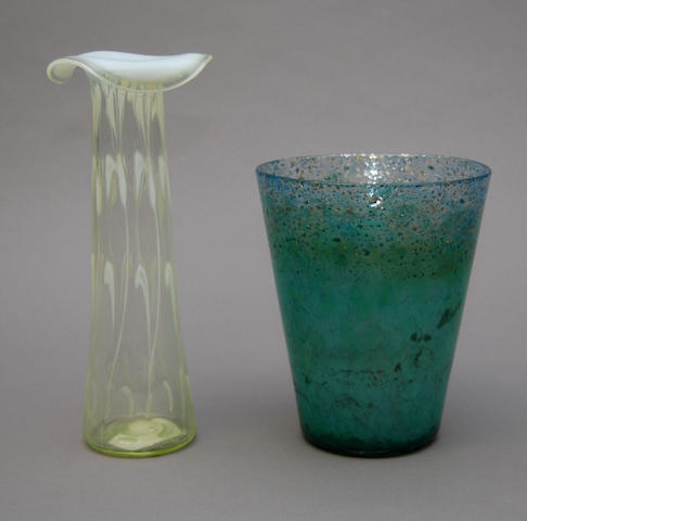 A Monart glass vase and a vaseline glass vase