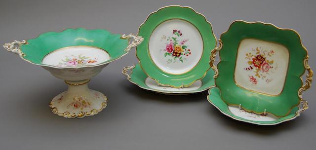 A 19th century English porcelain part dessert service