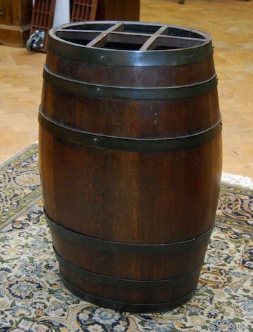 An oak coopered barrel stickstand
