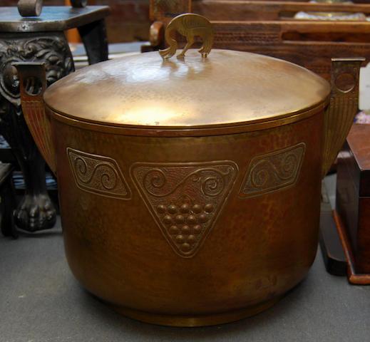 A Continental brass coal scuttle