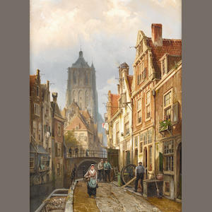 Willem Koekkoek (Dutch, 1839-1895) Dutch street scene by a canal