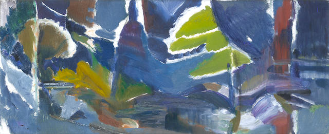 Ivon Hitchens (British, 1893-1979) Warmford Water, (First Variation) 46 x 109.5 cm. (18 x 43 in.)