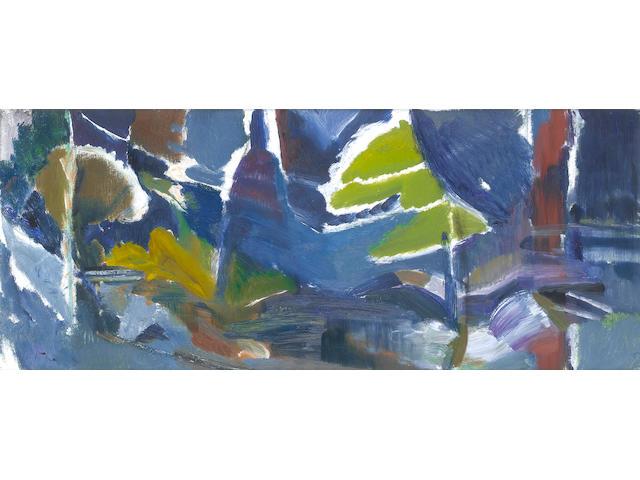Ivon Hitchens (British, 1893-1979) Warmford Water, (First Variation) 46 x 109.5 cm. (18 x 43 in.)