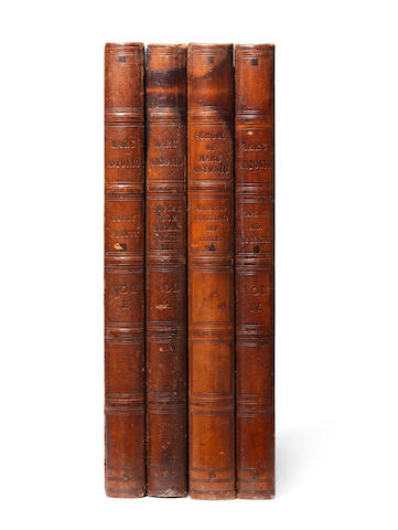 Lord Fitzwilliam Solander boxes Four leatherbound boxes, c1850, with titles embossed on the spines, 610 x 445 x 50mm (24 x 17 1/2 x 2in)(each box) 4