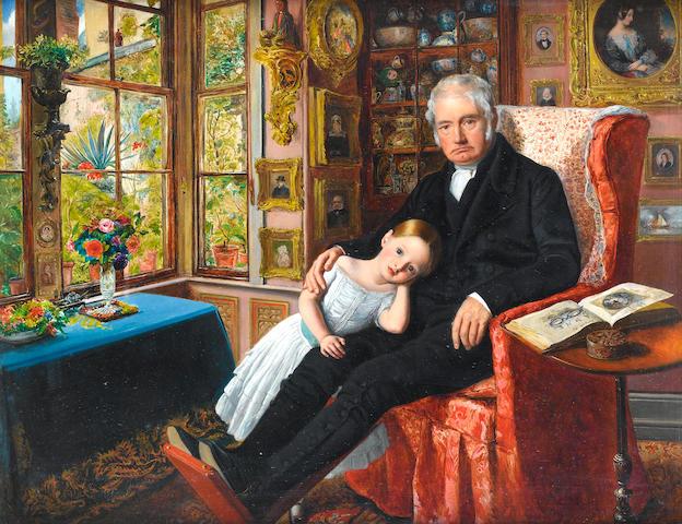 William Henry Millais (British, 1828-1899) James Wyatt and his Granddaughter, Mary Wyatt,